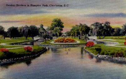 Sunken Gardens in Hampton Park - Charleston, South Carolina SC Postcard