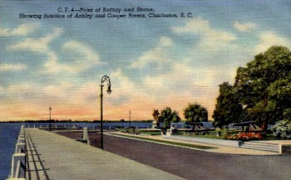 Point of Battery and Statue - Charleston, South Carolina SC Postcard