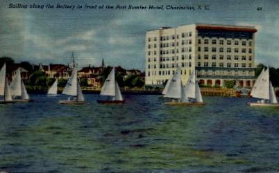 Sailing Along the Battery - Charleston, South Carolina SC Postcard