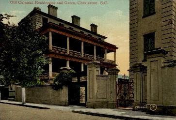 Old Colonial Residences and Gates - Charleston, South Carolina SC Postcard