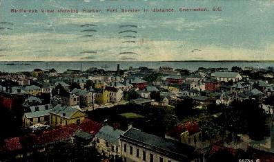 Harbor, Fort Sumter in Distance - Charleston, South Carolina SC Postcard