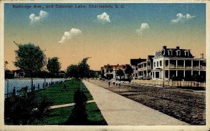 Rutledge Ave. and Colonial Lake - Charleston, South Carolina SC Postcard