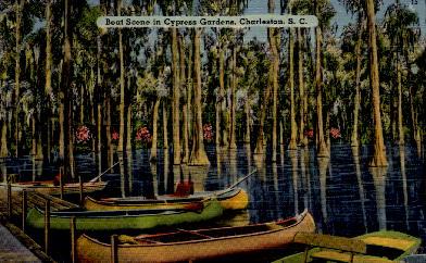 Boat Scene in Cypress Gardens - Charleston, South Carolina SC Postcard