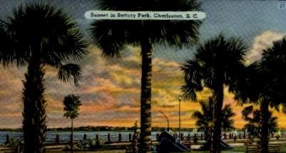 Sunset in Battery Park - Charleston, South Carolina SC Postcard