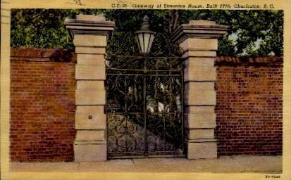 Gateway of Simonton House - Charleston, South Carolina SC Postcard