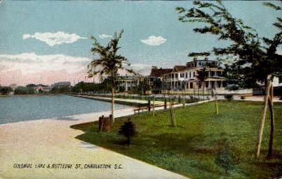 Colonial Lake & Ruttedge St. - Charleston, South Carolina SC Postcard