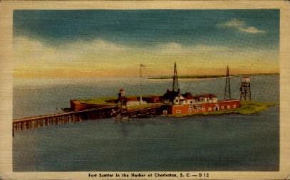 Fort Sumter in the Harbor - Charleston, South Carolina SC Postcard