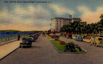 Fort Sumter Hotel and Battery - Charleston, South Carolina SC Postcard