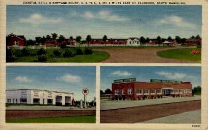 Coastal Grill and Cottage Court - Florence, South Carolina SC Postcard