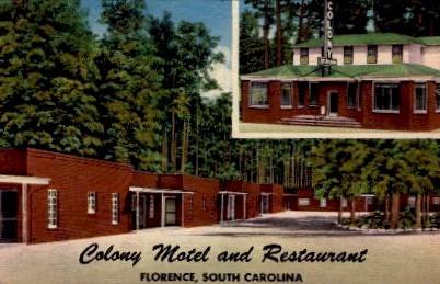 Colony Motel and Restaurant - Florence, South Carolina SC Postcard