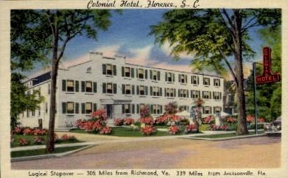 Colonial Hotel - Florence, South Carolina SC Postcard