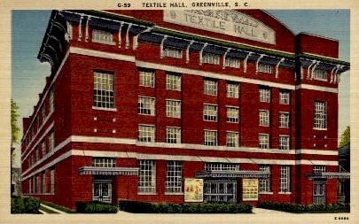 Textile Hall - Greenville, South Carolina SC Postcard