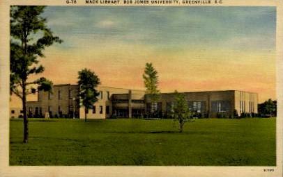 Mack Library, Bob Jones Univerity - Greenville, South Carolina SC Postcard