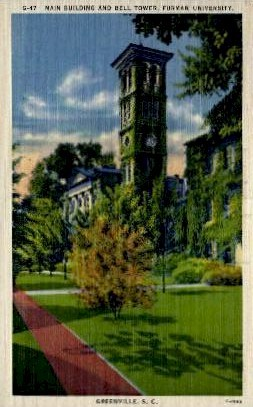 Main Building and Bell Tower - Greenville, South Carolina SC Postcard