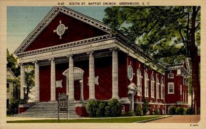 South St. Baptist Church - Greenwood, South Carolina SC Postcard