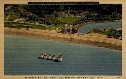Power Plant and Dam, Lake Murray - Lexington, South Carolina SC Postcard