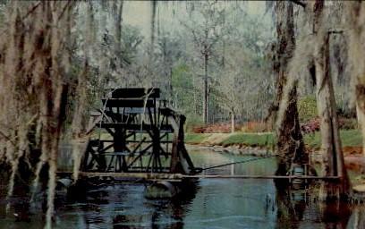 Water Wheel - Edisto Memorial Gardens - Orangeburg, South Carolina SC Postcard
