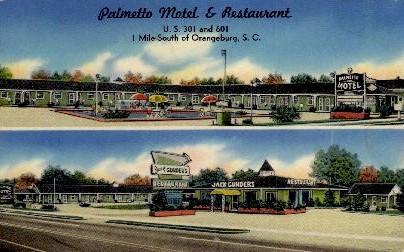 Palmetto Motel and Restaurant - Orangeburg, South Carolina SC Postcard