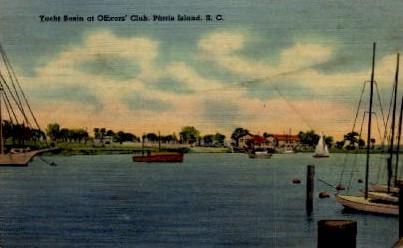 Yacht Basin at Officers' Club - Parris Island, South Carolina SC Postcard