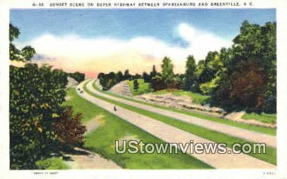 Highway, Spartanburg - Greenville, South Carolina SC Postcard