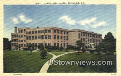 Senior High School, Greenville - South Carolina SC Postcard