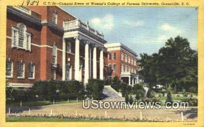 Women's College of Furman University - Greenville, South Carolina SC Postcard