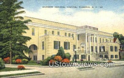 Saunders Memorial Hospital - Florence, South Carolina SC Postcard