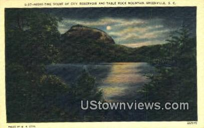 City Reservoir & Table Rock Mountain - Greenville, South Carolina SC Postcard