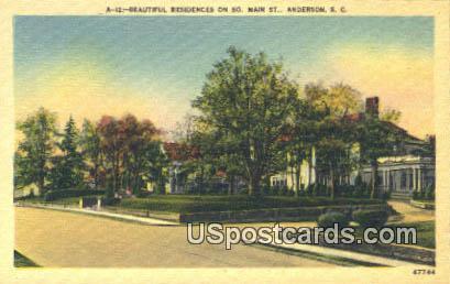 Residences, South Main Street - Anderson, South Carolina SC Postcard