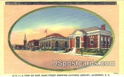 East Main Street, Carnegie Library - Anderson, South Carolina SC Postcard