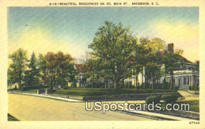 South Main Street - Anderson, South Carolina SC Postcard