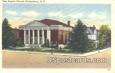 First Baptist Church - Orangeburg, South Carolina SC Postcard