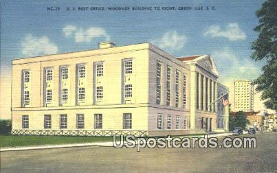 US Post Office - Greenville, South Carolina SC Postcard
