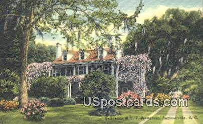 Residence of FP Prettyman - Summerville, South Carolina SC Postcard