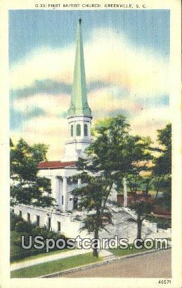 First Baptist Church - Greenville, South Carolina SC Postcard