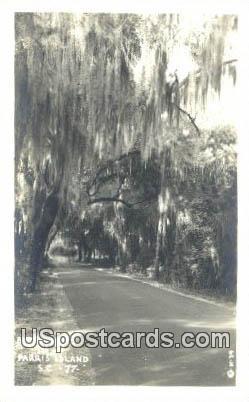 Real Photo - Burton Road - Parris Island, South Carolina SC Postcard