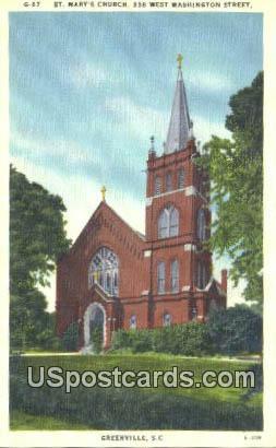St Mary's Church - Greenville, South Carolina SC Postcard