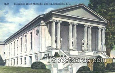 Buncombe Street Methodist Church - Greenville, South Carolina SC Postcard