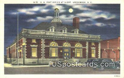 US Post Office - Greenwood, South Carolina SC Postcard
