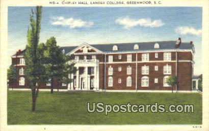 Chipley Hall, Lander College - Greenwood, South Carolina SC Postcard