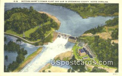 Buzzard Roost's Power Plant - Greenwood County, South Carolina SC Postcard