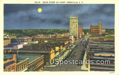 Main Street - Greenville, South Carolina SC Postcard