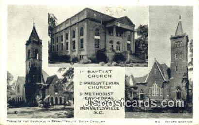 Baptist Church - Bennettsville, South Carolina SC Postcard