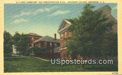 Administration Building, Anderson College - South Carolina SC Postcard
