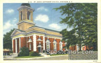 St John's Methodist Church - Anderson, South Carolina SC Postcard
