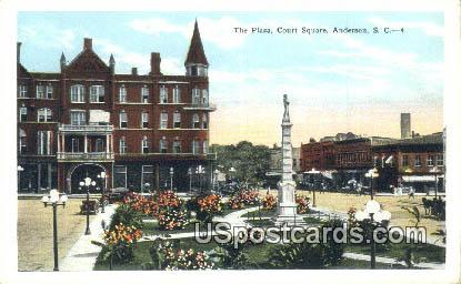 Plaza, Court Square - Anderson, South Carolina SC Postcard