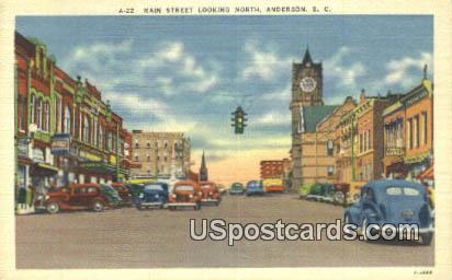 Main Street - Anderson, South Carolina SC Postcard