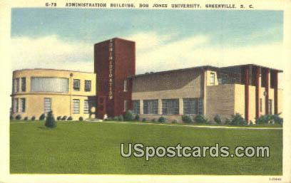 Administration Building, Bob Jones University - Greenville, South Carolina SC Postcard