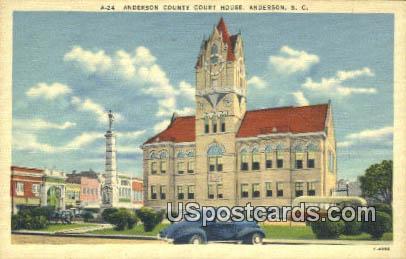 Anderson County Court House - South Carolina SC Postcard