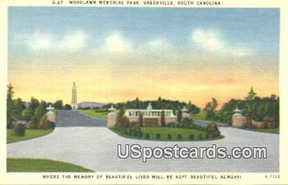 Woodlawn Memorial Park - Greenville, South Carolina SC Postcard